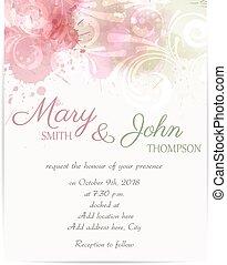 elementi, astratto, matrimonio, florals, sagoma, invito