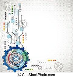 elementi, astratto, vario, fondo, tecnologico, tecnologia