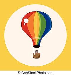 elementi, ballon, aria calda, tema, vettore