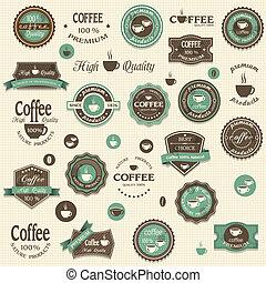 elementi, caffè, collezione, etichette