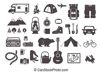 elementi, campeggio, icone, andando gita, -, set