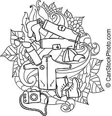 elementi, camping., scarabocchiare, viaggiare, -, mano, vettore, componenti, disegnato, turismo, recreation., illustration.