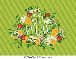 elementi, cibo, vegan, andare, illustrazione, verdura