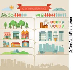 elementi, circa, infographics, città, villaggio