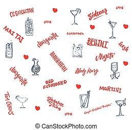 elementi, classico, collezione, mano, cocktail, disegnato