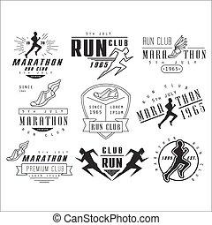 elementi, club, etichette, correndo, emblemi, vettore, disegno