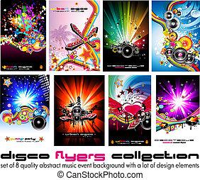 elementi, colorito, discoteque, musica, 8, fondo, volantini...