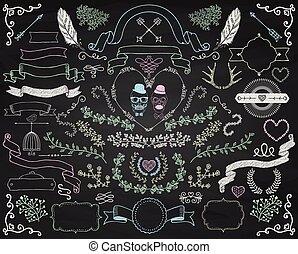 elementi, colorito, scarabocchiare, gesso, vettore, disegno...