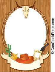 elementi, cowboy, manifesto, vettore, disegno, fondo