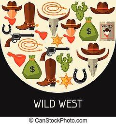 elementi, cowboy, ovest, oggetti, disegno, fondo, selvatico