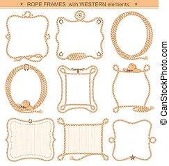 elementi, cowboy, testo, isolato, corda, fondo, cornici