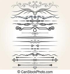 elementi decorativi, vettore, regola, lines., disegno