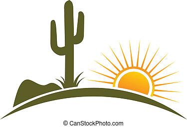 elementi, deserto, sole, logotipo, disegno