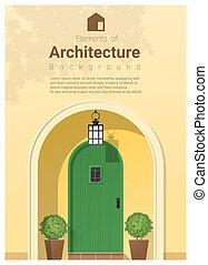 elementi, di, architettura, porta principale, fondo, 22