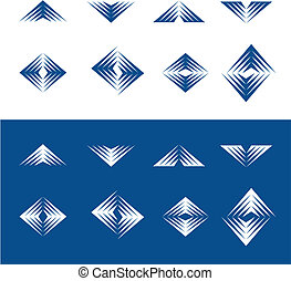 elementi, dinamico, -, 2, disegno, serie