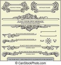 elementi, disegno, calligraphic