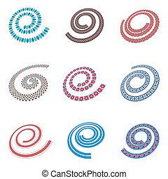 elementi, disegno, forma., spirale