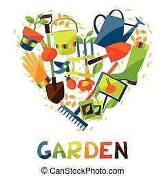 elementi, disegno, giardino, fondo, icone