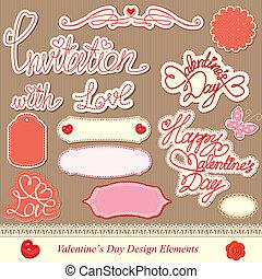 elementi, disegno, giorno, valentine