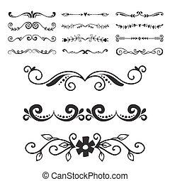 elementi, dividere, testo, ornamento, tipografia, ...