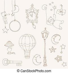elementi, dolce, -, disegno, bambino, album, fare un sogno
