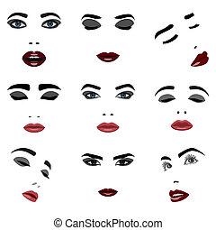 elementi, donna, set, bellezza, faccia