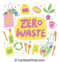 elementi, eco, motivazionale, illustrazione, zero, spreco
