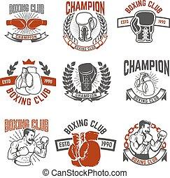 elementi, embl, club, pugilato, labels., progetto serie, etichetta, logotipo