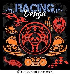 elementi, -, emblem., vettore, disegno, da corsa