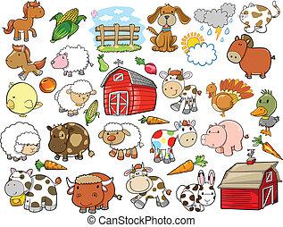 elementi, fattoria, vettore, disegno, animale
