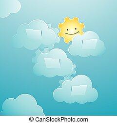elementi, figura, soleggiato, cielo, fondo, sole, caratterizzare, tecnologia, felice