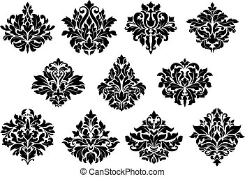 elementi floreali, disegno, damasco
