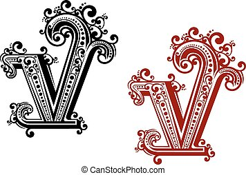 elementi floreali, v, lettera, capitale