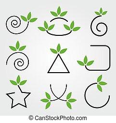 elementi, foglie, set, verde, disegno