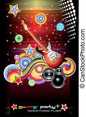 elementi, fondo, ballo, fantasia, lotto, musicale