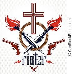 elementi, gangster, disegno, emblema, logotipo, tatuaggio, differente, revolutionary., vendemmia, partigiano, croce, armi, criminale, cristiano, stile, symbolizing, drammatico, ribelle, morte, rioter, vettore, o
