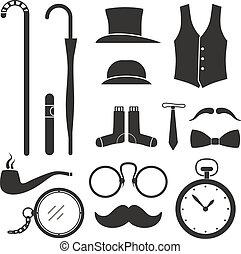 elementi, gentlemens, roba, disegno, collezione