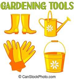 elementi, giardino, colorito, set., irrigazione, 4, cartone animato
