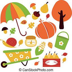 elementi, giardino, isolato, autunno, set, bianco