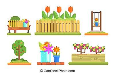 elementi, giardino, set, parco, illustrazione, panca, legno, vettore, azzurramento, piante, fiori, flowerbeds