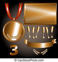 elementi, giochi, bronzo, sport