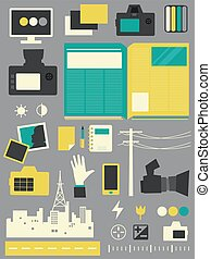 elementi, giornalismo, illustrazione