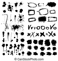 elementi, grunge, collection., disegno, inchiostro, splatters.