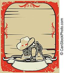 elementi, grunge, fondo, elements., rosso, cowboy, ...