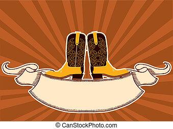 elementi, grunge, testo, fondo, cowboy, boots.