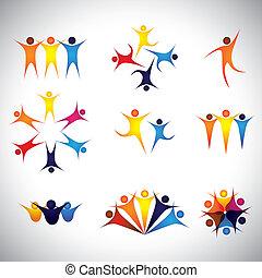 elementi, icone, persone, vettore, disegno, amici, bambini
