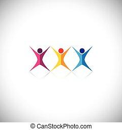 elementi, icone, persone, vettore, disegno, amici, logotipo...