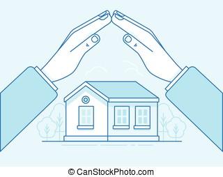 elementi, -, illustrazione, concetto, disegno, infographics, assicurazione casa