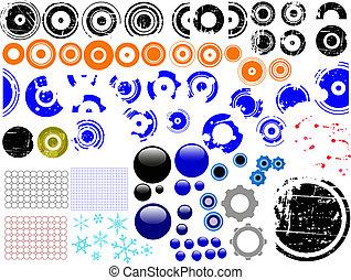 elementi, individuale, grunge, sopra, -, disegno, 80