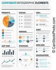 elementi, infographic, corporativo, temp